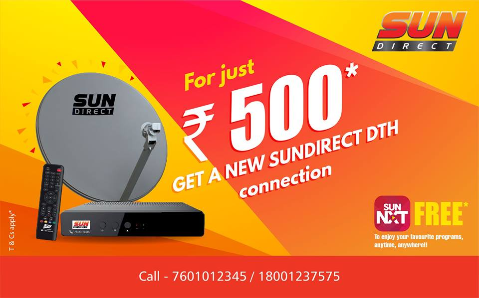 sun direct offers new connection for rs.500