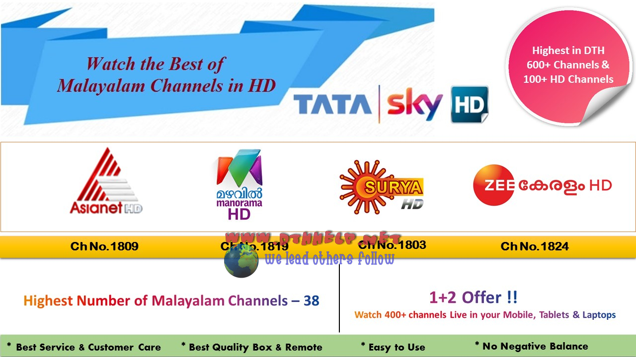 4 Malayalam HD channels on Tata Sky | dthhelp for dth news and dth