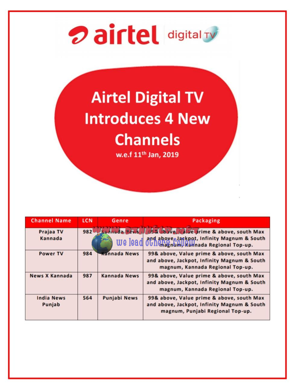 Airtel adds 4 new channels