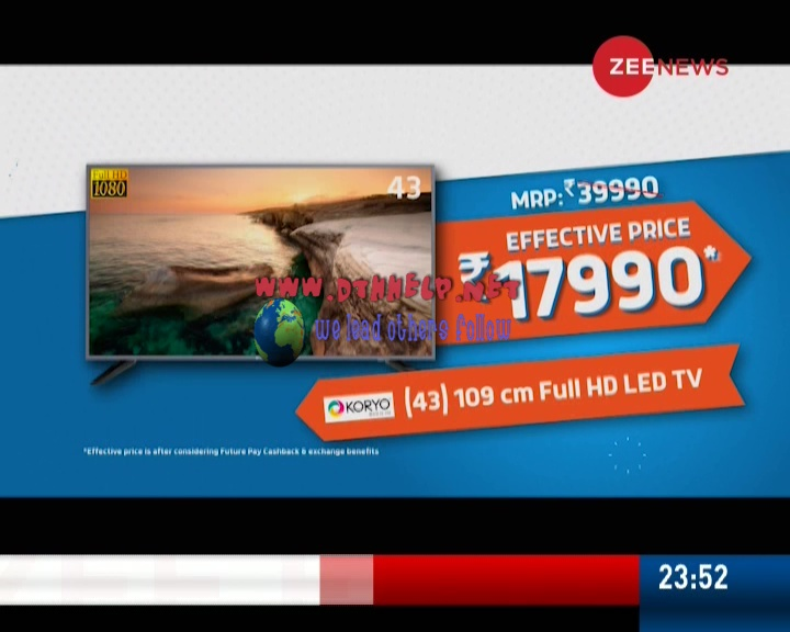 ZEE NEWS + FTA on Dish TV latest update on 15-Mar-2019